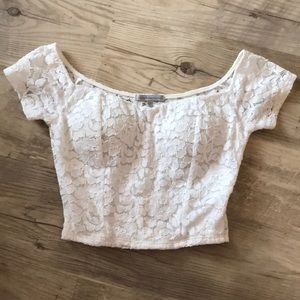 charlotte russe size XS white flowery crop top